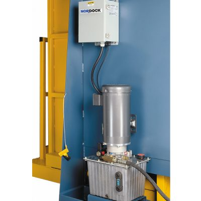 Power unit with 3 Phase TEFC motor, gear pump, valve manifold, filters and oil filled reservoir.